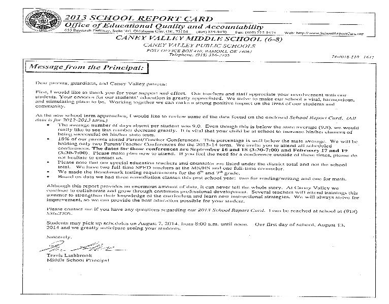 High School Report Card Design 2013 Middle School Report Card